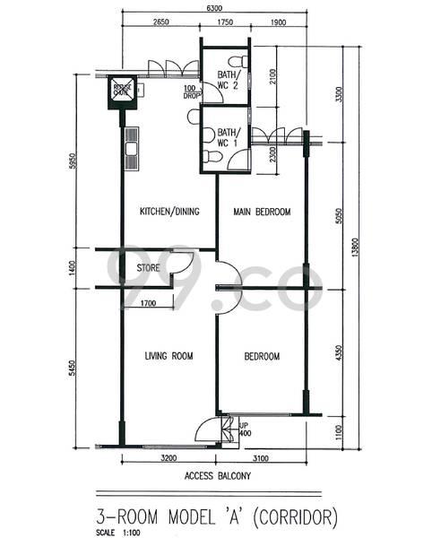 HDB sample floorplan for type 3A, 1982 to 1989, 807sqft - corridor