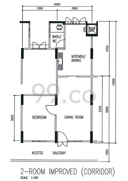 HDB sample floorplan for type 2I, 1966 to 1978, 473sqft - corridor