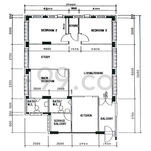 HDB sample floorplan for type 5I, 1996 to 1998, 1313sqft - corner-end