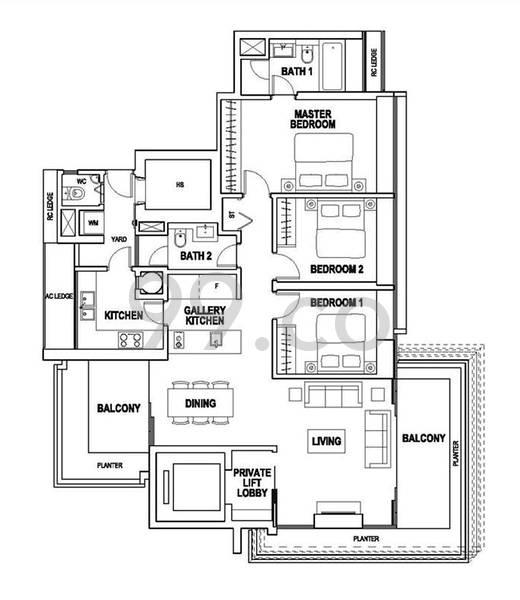 Paterson Suites - Configuration A1