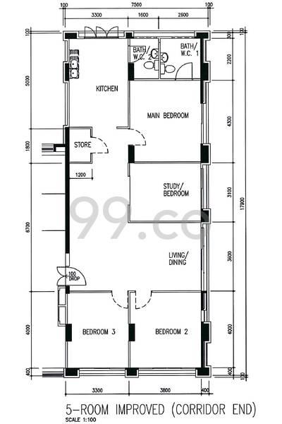 HDB sample floorplan for type 5I, 1991 to 1992, 1323sqft - corner-long