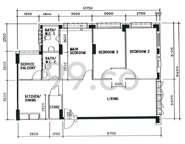 HDB sample floorplan for type 4A, 1996 to 1998, 1087sqft - corner