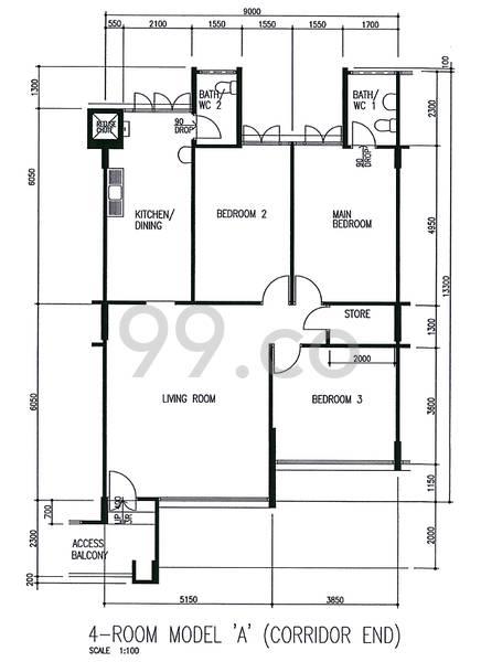 HDB sample floorplan for type 4A, 1982 to 1989, 1130sqft - corridor-end
