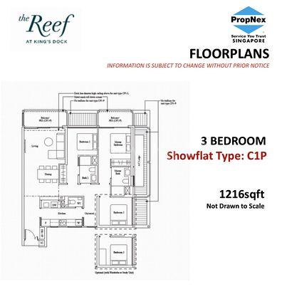 Type CP1 - 3 Bedroom 1,216 Sqft