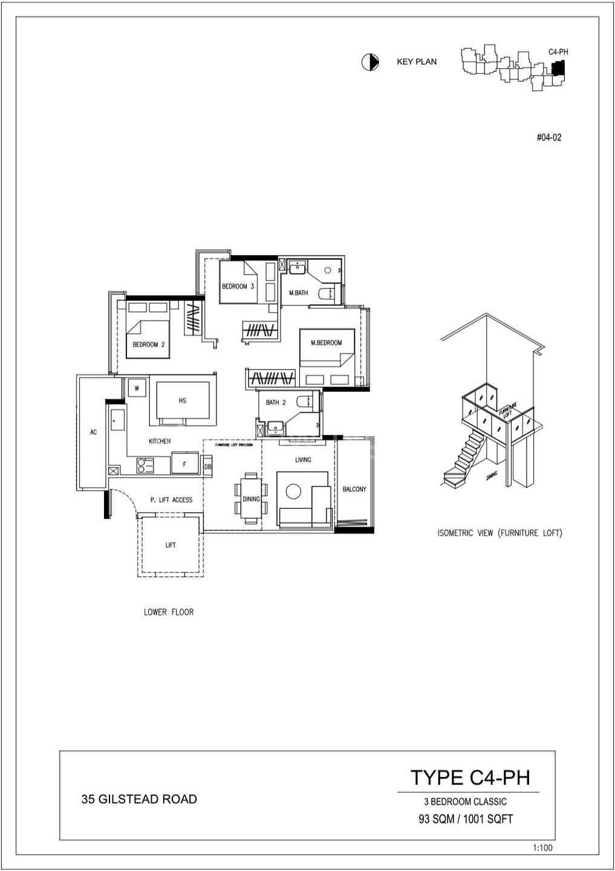3 Bedroom Classic 1,001 Sqft