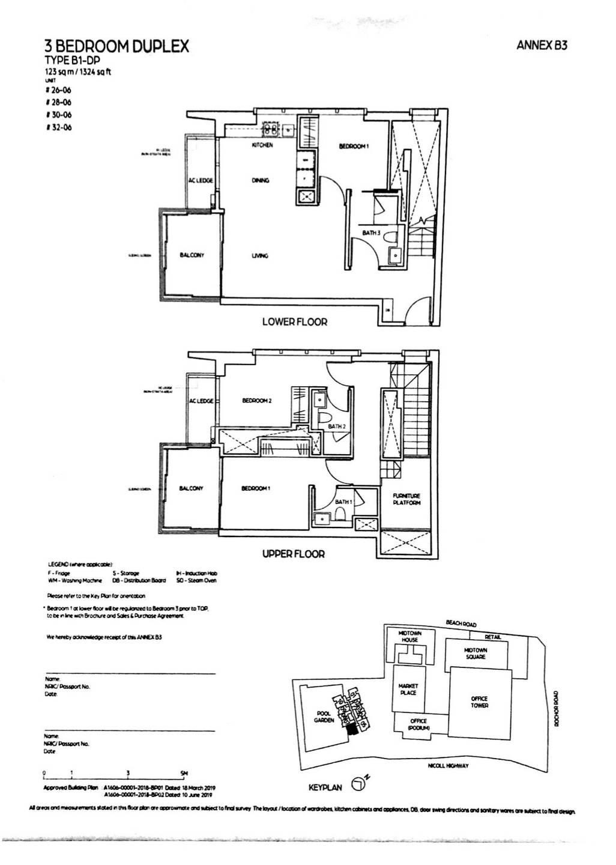 Type B1-DP 3 Bedroom Duplex 1,324 Sqft