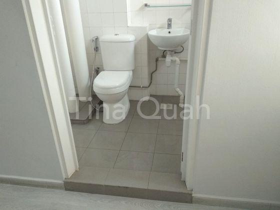 New sanitary fittings and sliding door washroom