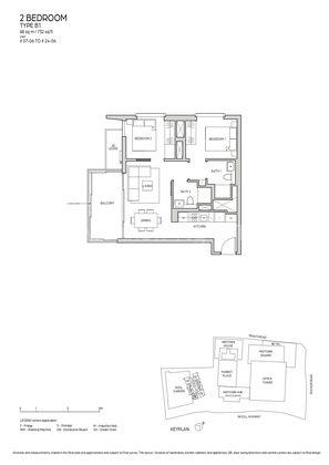 Type B1-2 Bedroom 732 Sqft