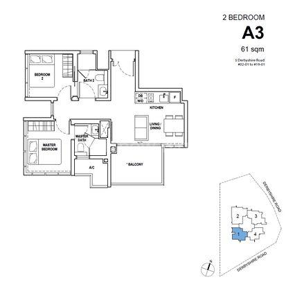 Type A3 - 2 Bedroom 657 Sqft