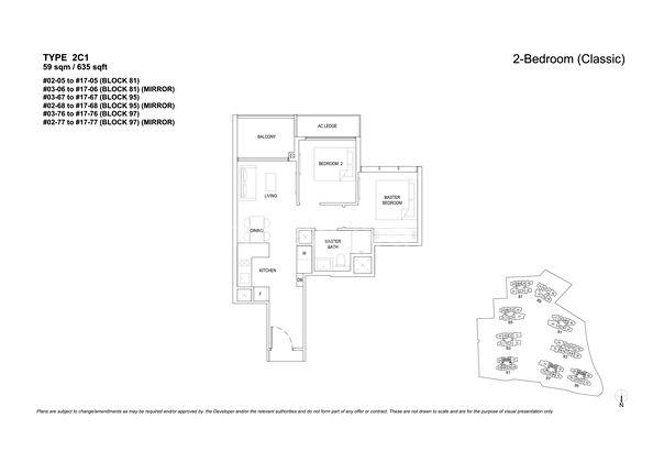 Type 2C1-2 Bedroom Classic 635 Sqft