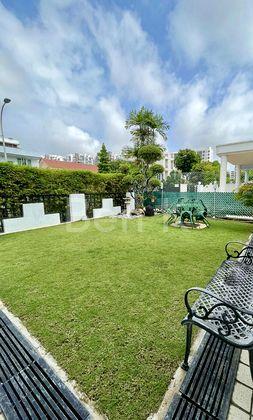 Squarish garden with side patio