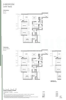 Floor plan of 3-bedroom with yard units