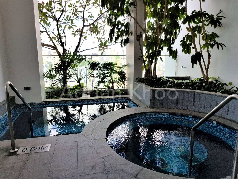 Hot tub overlooking city