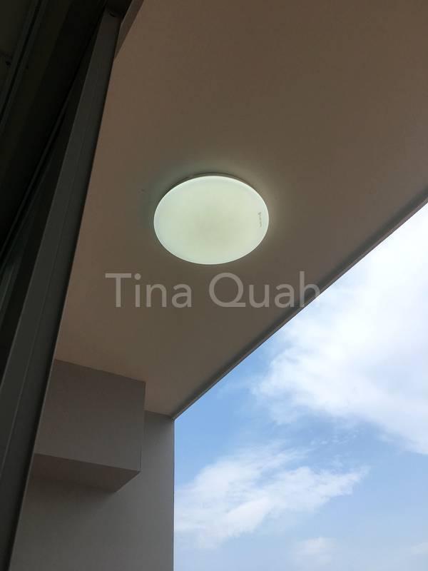 Newly installed LED light at balcony