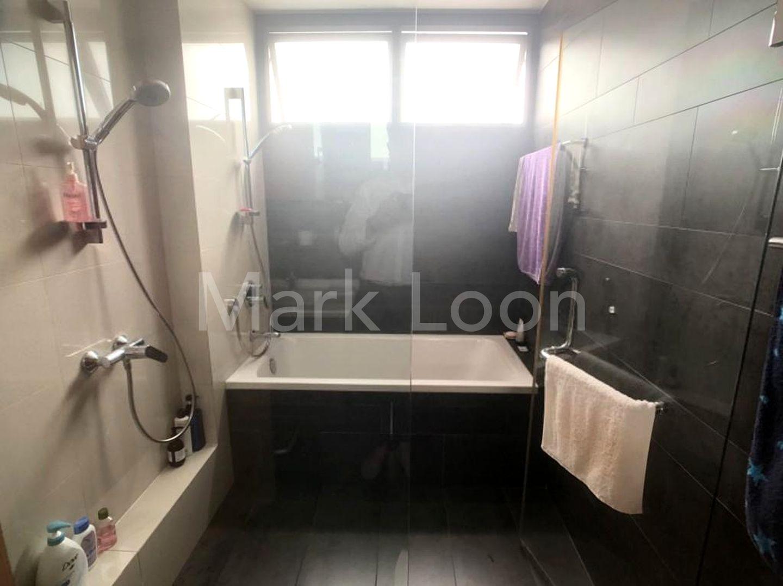 Master bath with bathtub and shower
