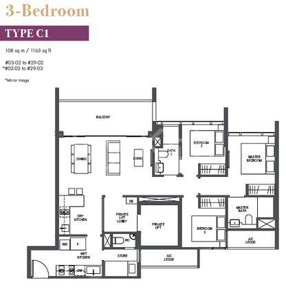 Pullman 3 Br layout