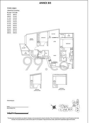 3DK1 - 915 sqft / 85 sqm