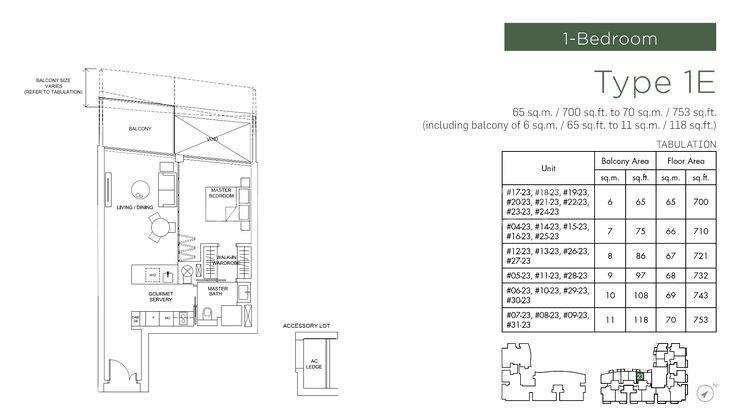 Type 1E - 1 Bedroom 700 Sqft To 753 Sqft