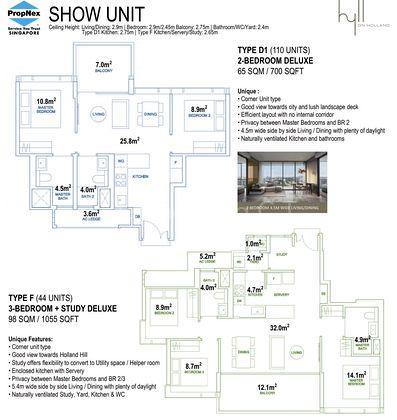 Show Unit Type D1-2 Bedroom 700 Sqft & Type F-3 Bedroom + Study Deluxe 1,055 Sqft