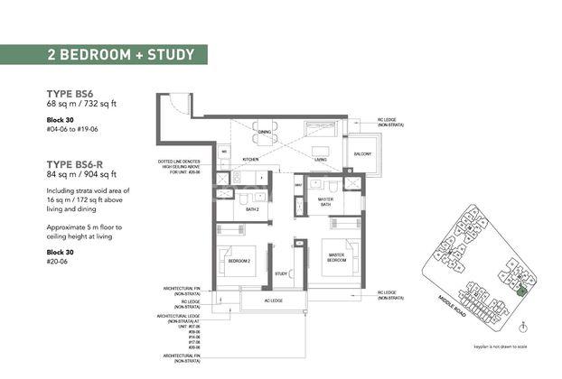 Type BS6-2 Bedroom + Study 732 Sqft