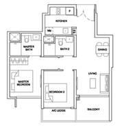 2 Bedrooms Type 2BRP1