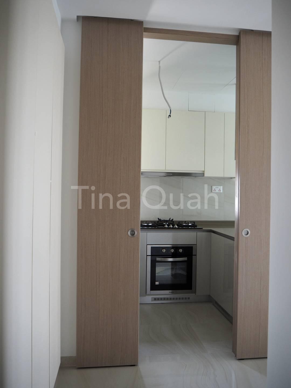 Enclosed kitchen with sliding door