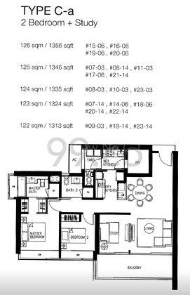 Type C-a - 2 Bedroom + Study 1,356 Sqft