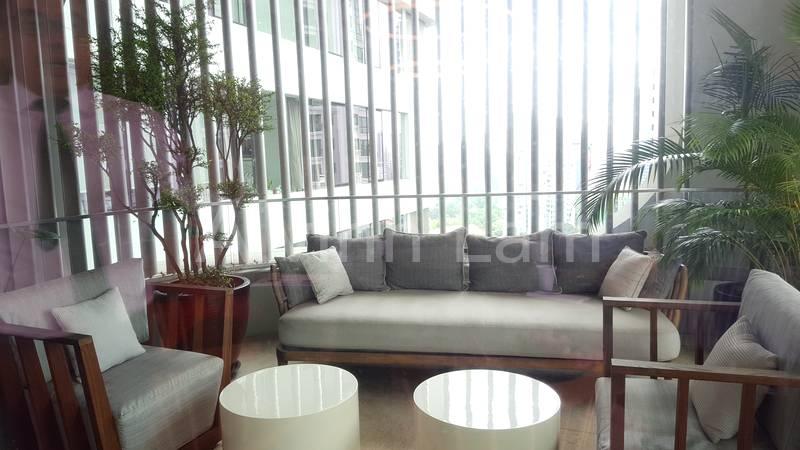Balcony with shade curtain