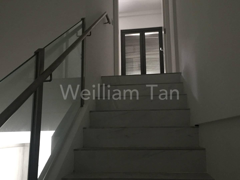 Stairway to living on upper floor