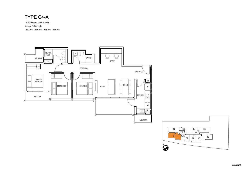 Type C4-A 3 Bedroom + Study 1,055 Sqft