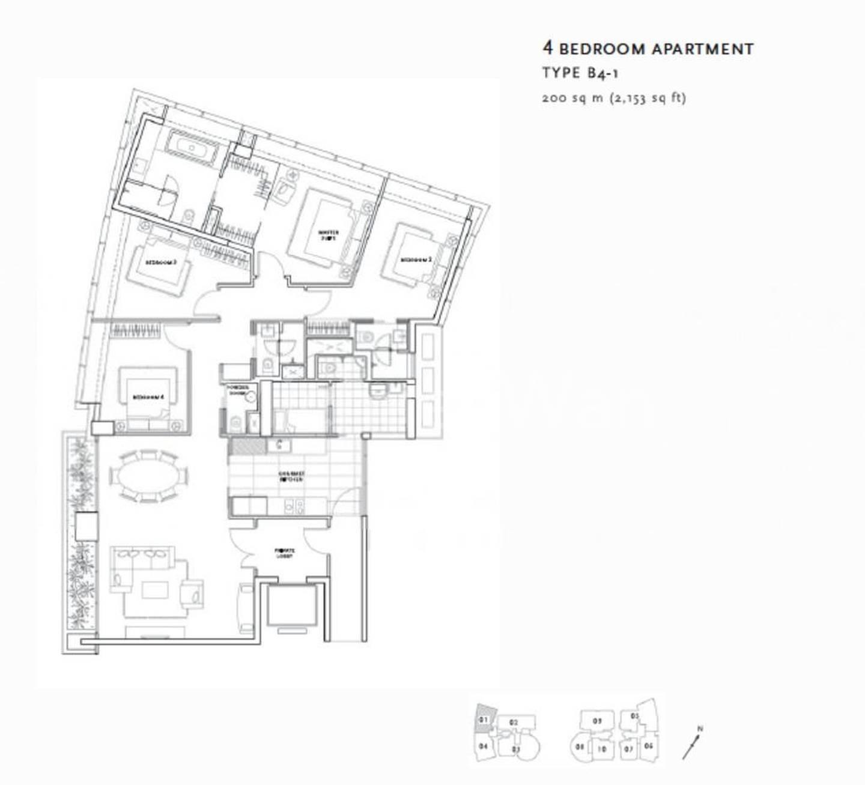 St. Regis Residences #0x-01, 4Brms/2159sqft