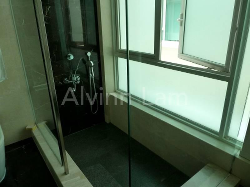 sunken bath and shower area