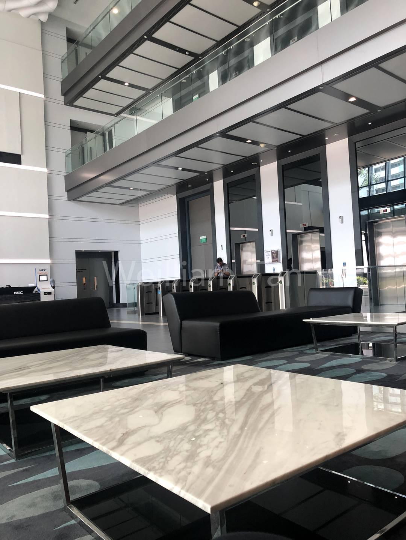Lift lobby with turnstiles