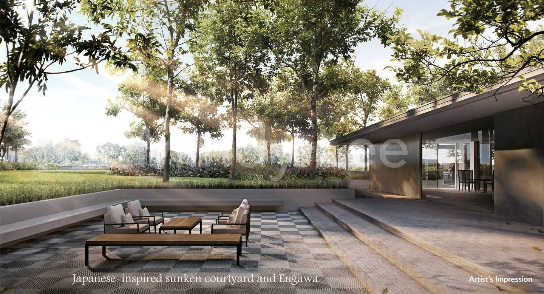 Japanese-inspired sunken courtyard and Engawa