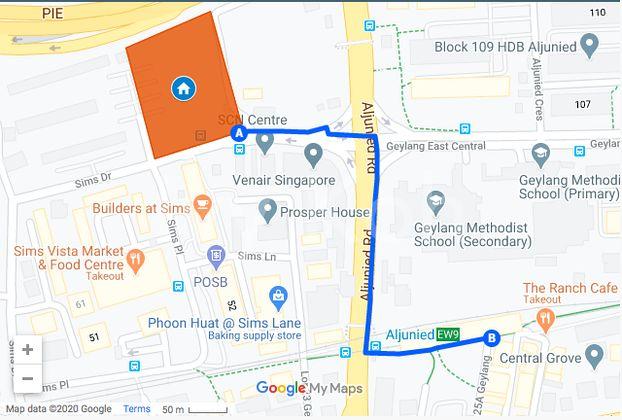 Penrose walk distance to MRT