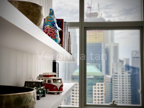Floating shelves lend to the minimalist design while providing practical storage