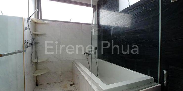 Luxury of long bath in master bathroom