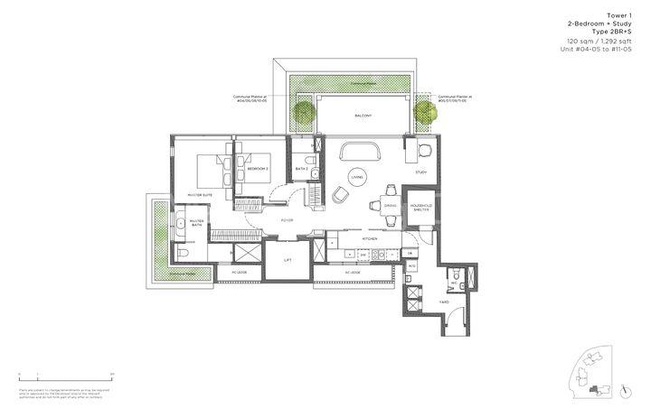 Type 2BR+S - 2 Bedroom + Study 1,292 Sqft
