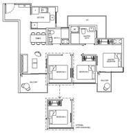 3 Bedrooms Type 3C1f