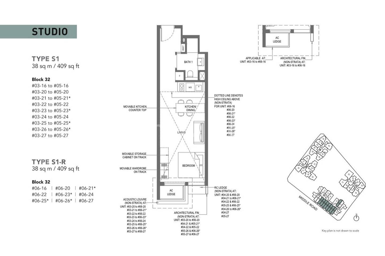 Type S1-Studio 409 Sqft