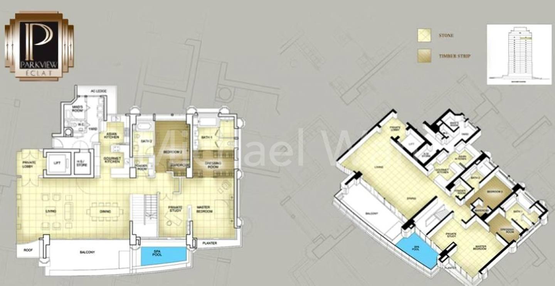Parkview Eclat Duplex Penthouse #1x-01/5877sqft (Lower)