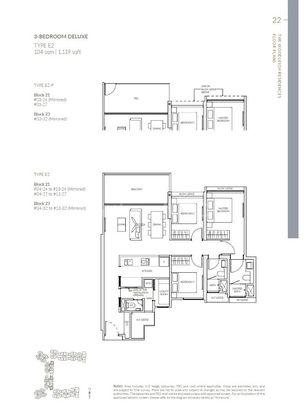 Type E2-P 3 Bedroom  Deluxe 1,119 Sqft