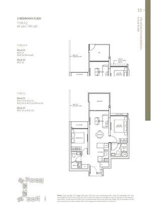 Type C2-2 Bedroom Flexi 743 Sqft