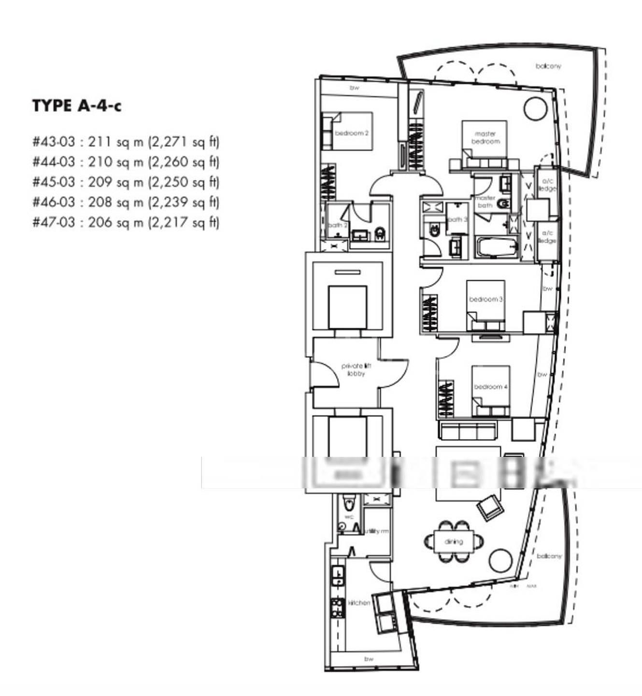 One Shenton #47-03 4Brms/2131sqft Floor Plan