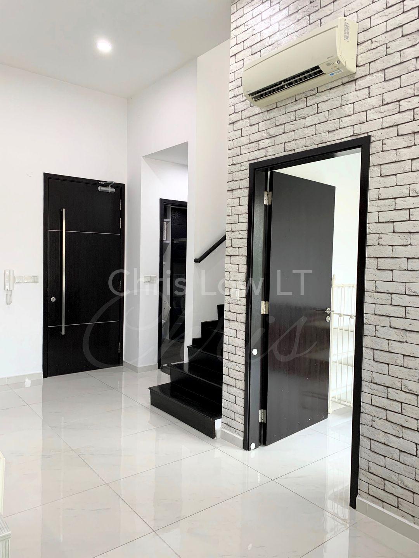 Common rm door & common bath in background. Main door entrance to house