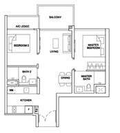 2 Bedrooms Type 2BRP2