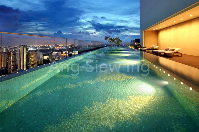 Sky pool at night