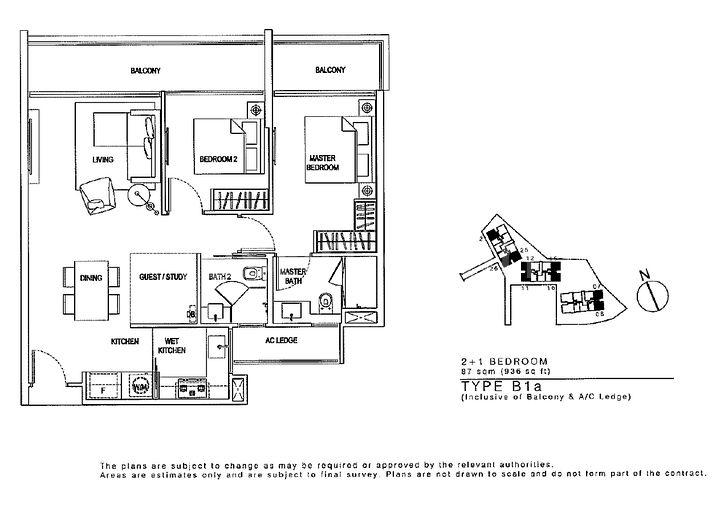 Floor Plan 2 bed 2 Bath plus Study