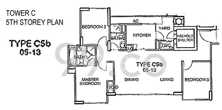 C5b - 1,163 sqft / 108 sqm