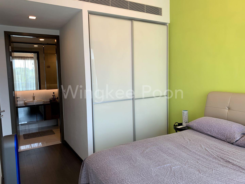 Master Bedroom with Attached Bathroom behind door